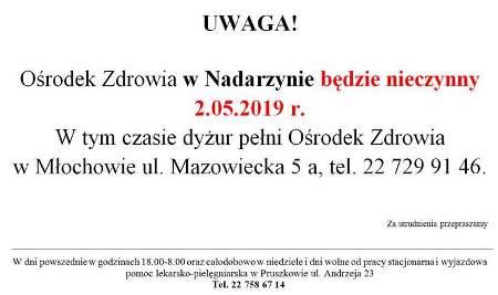 2.05 zapraszamy do przychodni w Młochowie