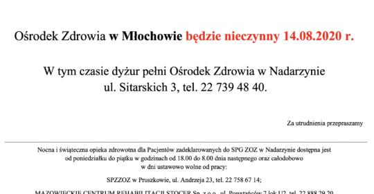 14.08.2020 – nieczynna przychodnia w Młochowie