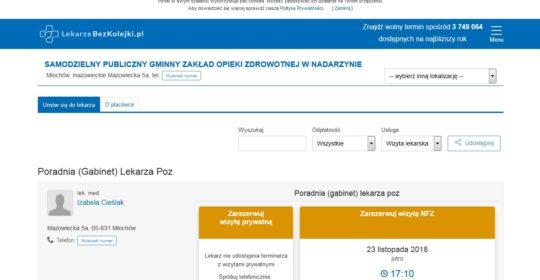 Nowy wygląd strony zapisów online do naszych lekarzy