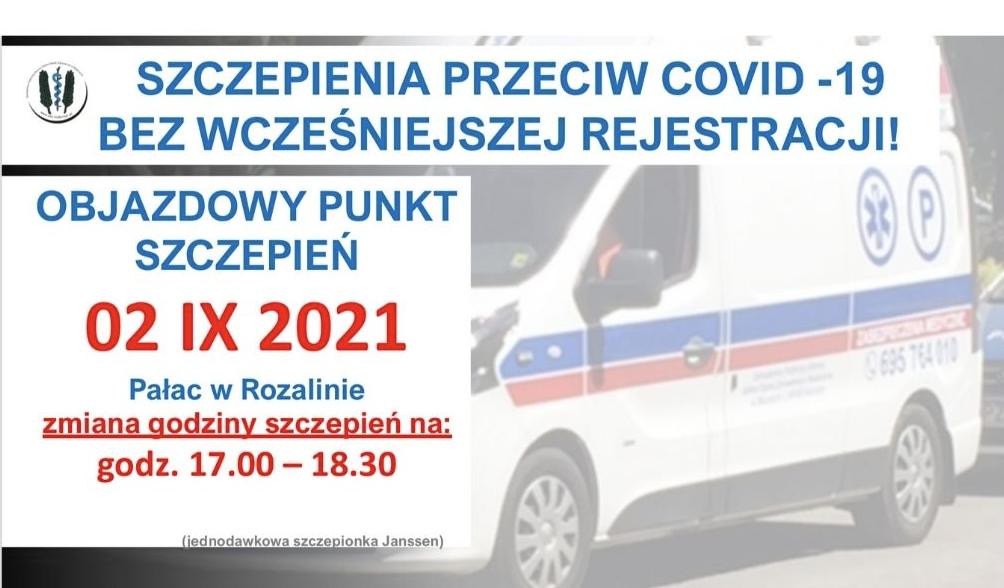 Nowe godziny szczepień przy Pałacu w Rozalinie